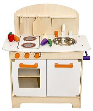 Weiße Kinderküche Spielküche Holzküche Kinderspielküche Spielzeugküche  Küche Holz mit Zubehör