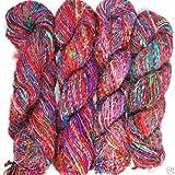 Yarn Place 10 Skeins 2 lb Himalaya Recycled Sari Silk Yarn Hippie Color Handspun