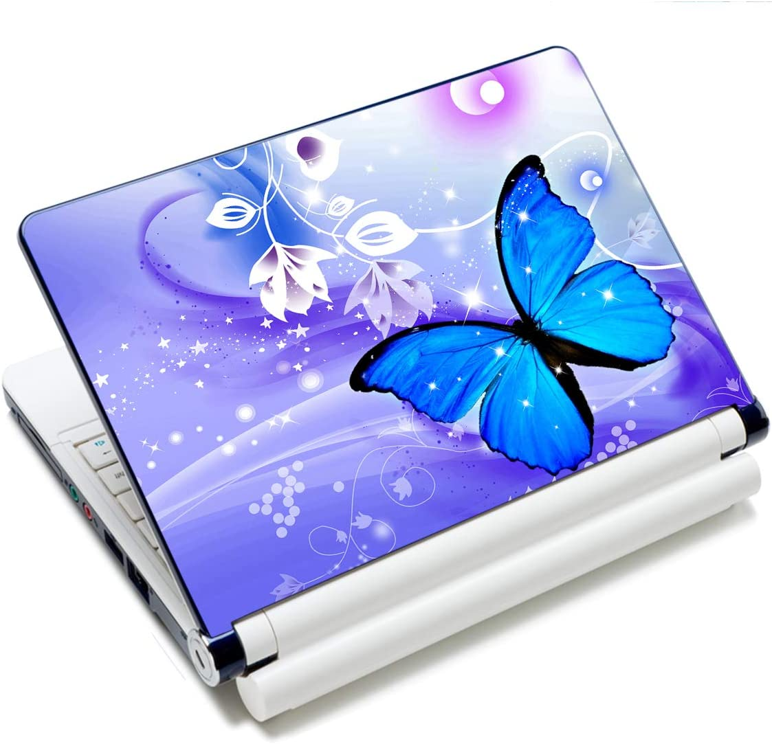 "Laptop Skin Vinyl Sticker Decal, 12"" 13"" 13.3"" 14"" 15"" 15.4"" 15.6 inch Laptop Skin Sticker Cover Art Decal Protector Fits HP Dell Lenovo Compaq Apple Asus Acer (Blue Butterfly)"