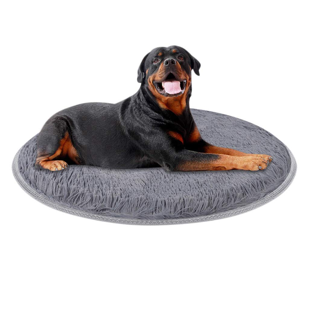 Sikye Soft Winter Pet Mat Coral Fleece Pad for Dogs and Cats Indoor Warming Mat Thermal Bed Solid - Round Shape (S:60cm(23.62inch), Gray)