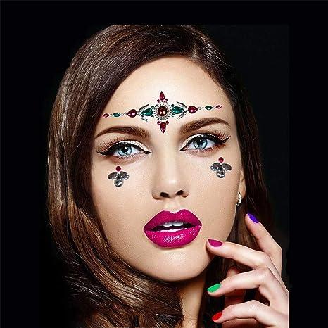 8 Piezas Face Gems Stickers Joyas Festival del Tatuaje Ojos Rave ...