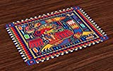 ''Lunarable Mexican Place Mats Set of 4, Aztec Culture Pattern Ethnic Colorful Mythology Artwork Ancient Snake, Washable Fabric Placemats for Dining Room Kitchen Table Decor, Indigo Mustard Orange''