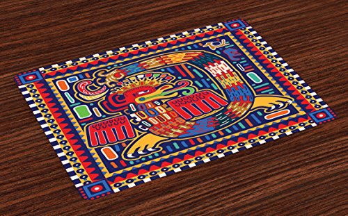 Cheap  Mexican Place Mats Set of 4 by Lunarable, Aztec Culture Pattern Ethnic..