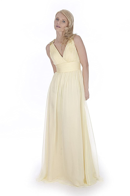 uk22 Sexyher Beautiful V Neck Full Length Evening Dress in Corn Silk