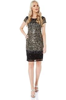 38d97277fc412 Roman Originals Women Ombre Sequin Dress - Ladies Knee Length Round Neck  Short Sleeve Embellished Pretty Party…