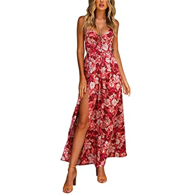 0391f2d1a9 New Summer Maxi Dress Women Bohemian Floral Print Beach Boho Dress Split  Lace Up Sexy Backless Chiffon Long Dresses at Amazon Women s Clothing store
