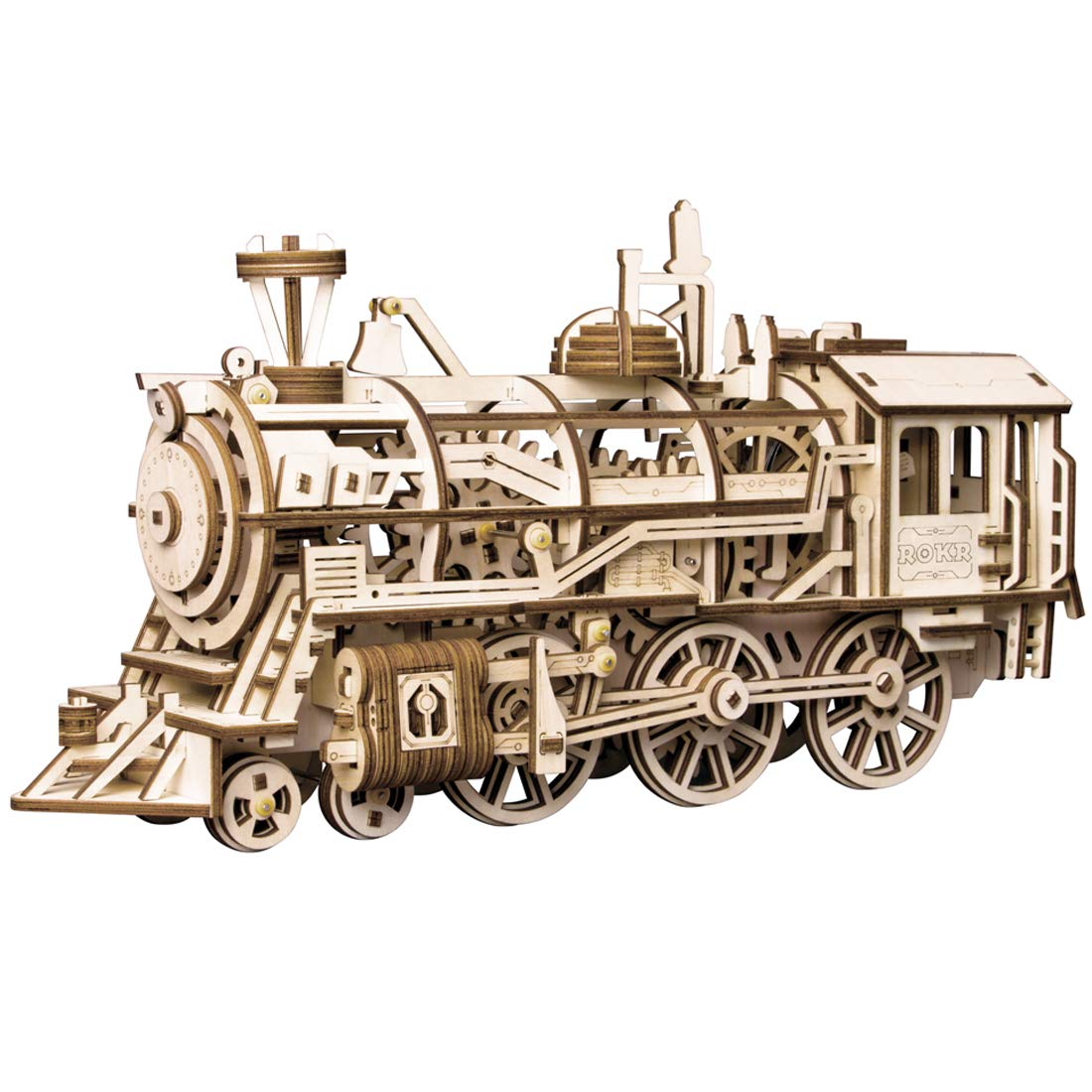 ROKR 3D Wooden Puzzle-Self Propelled Mechanical Model-DIY Building Kits-Brain Teaser Games-Best Gift for Boyfriend or Girlfriend on Birthday/Anniversary/Valentine's Day/Christmas(Locomotive) by ROKR