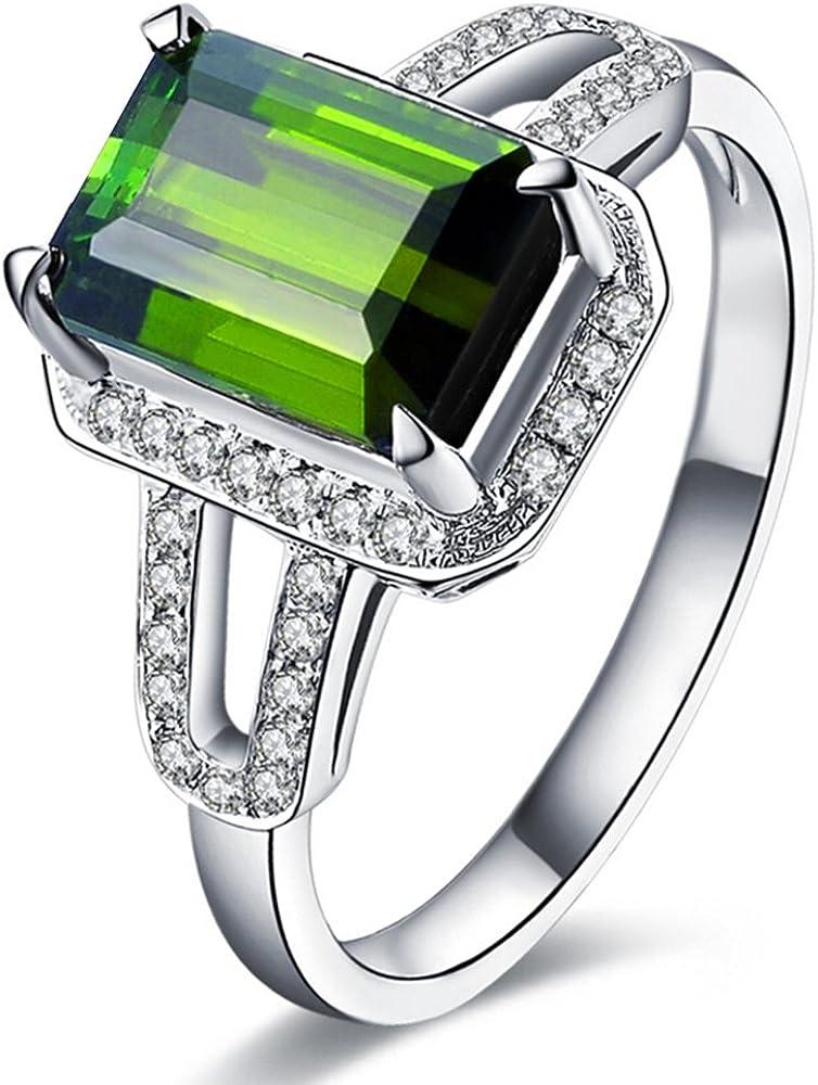 2.2ct Esmeralda 6X8mm Verde Turmalina Piedra preciosa Diamantes In 14K Oro blanco Boda Compromiso Nupcial Anillo para Mujer