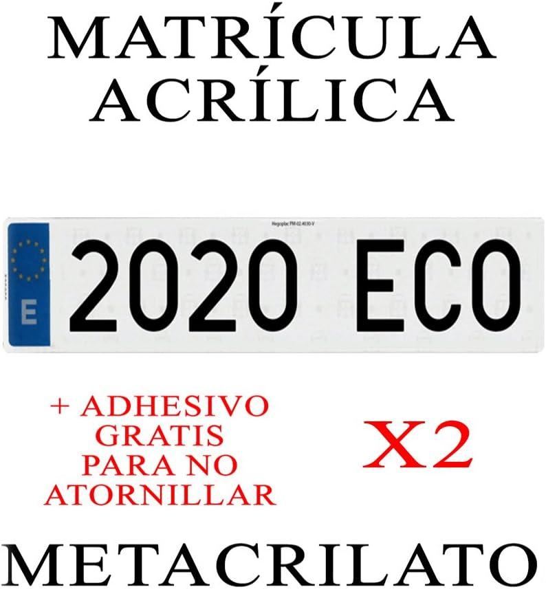 2 MATRICULAS ACRILICAS METACRILATO + Adhesivos para Colocar SIN ...