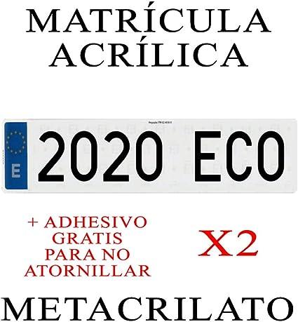 2 MATRICULAS ACRILICAS LARGAS HOMOLOGADAS COCHE
