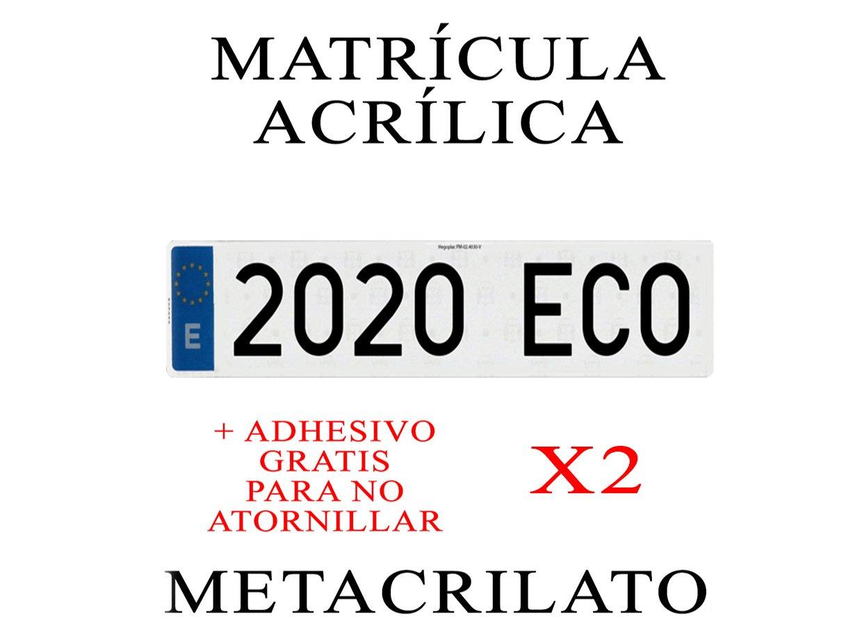 2 MATRICULAS ACRILICAS METACRILATO + Adhesivos para Colocar SIN ATORNILLAR Gratis Medida MATRICULA 52x11cm Coche NIKKALITE POLICARBONATO 100% HOMOLOGADA Larga Europea ATRESSA-UNO