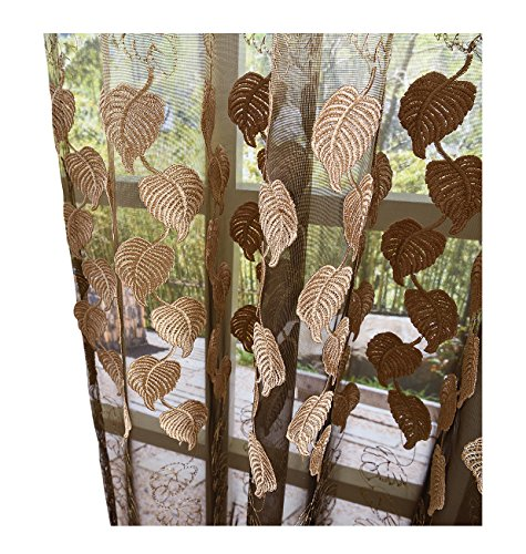 Aside Bside Sheer Curtains Leaf Embroidered Drapes Rod Pocket Top Voile Window Panels Treatments for Living Room & Bedroom(1 Panel, W 50 x L 72 inch, Brown) ()