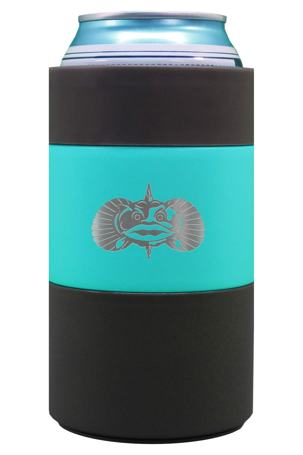 Toadfish Can Cooler - Non-Tipping Suction Cup Can Cooler - Double Wall Vacuum Insulation Insulated Can Cooler Designed to Stay Upright and Not Spill - Stainless Steel Construction (Teal) by Toadfish