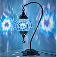 New BOSPHORUS Stunning Handmade Swan Neck Turkish Moroccan Mosaic Glass Table Desk Bedside Lamp Light with Bronze Base…