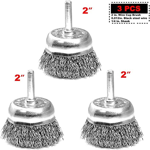"""For 4-1//2/"""" Angle Grinders 2pc 3/"""" x 5//8/"""" Arbor FINE Crimped Wire 2 Cup Brush"""