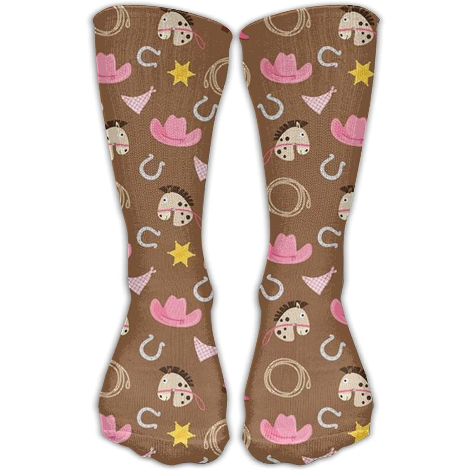 Fun Horseshoe Horse Animal Girls Dress Socks Womens Crew Socks