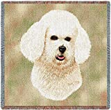 Pure Country 1150-LS Bichon Frise Pet Blanket, Canine on Beige Background, 54 by 54-Inch