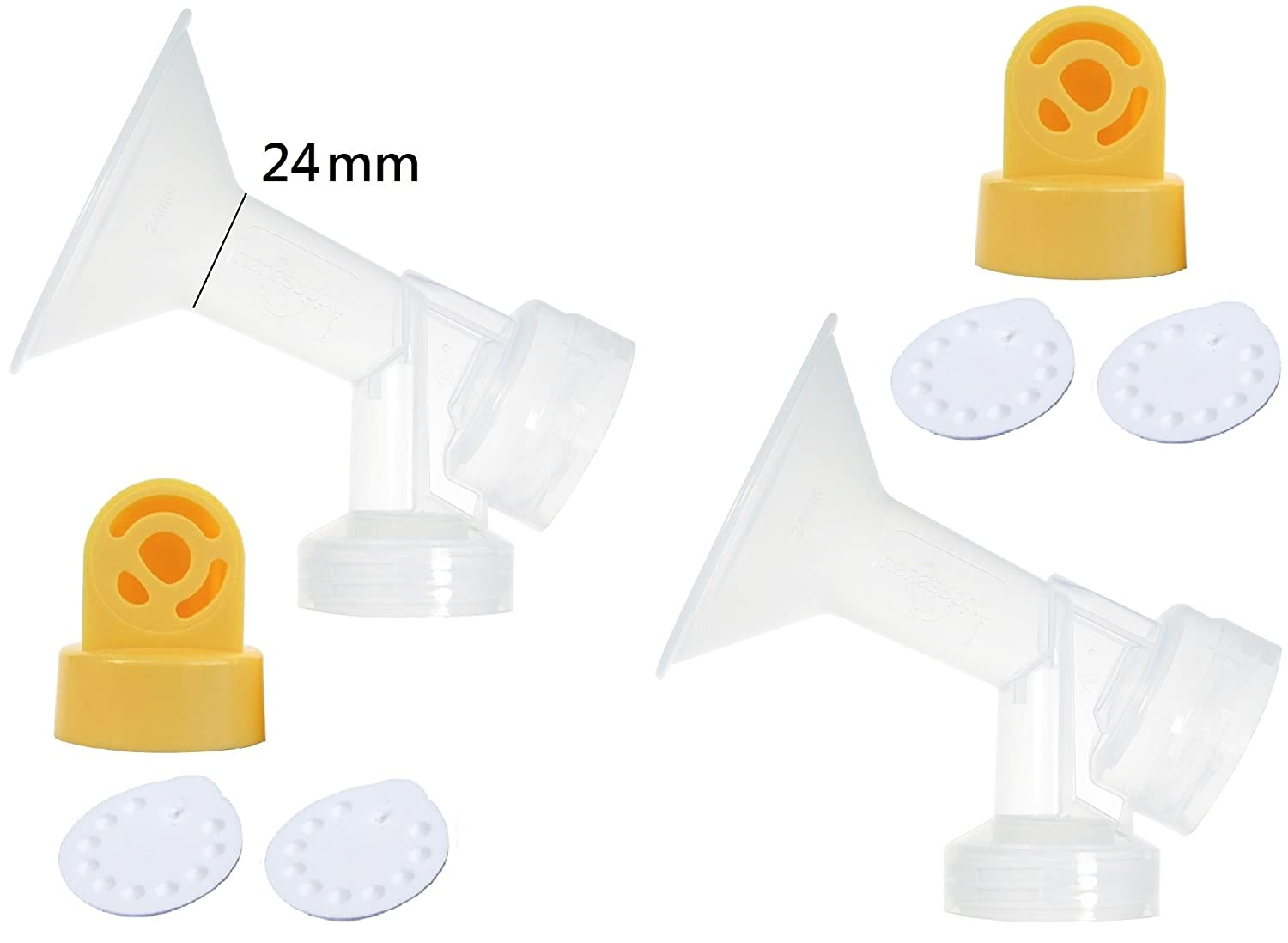 One-piece Breastshields (Replace Medela Personalfit) with 2 Valves and 4 Membranes for Medela Pump In Style, Lactina, and Symphony Breastpumps. Replace Medela Personal Fit Connector and Breastshield. Medela Valve, and Medela Membrane. (Breastshield 24mm) N