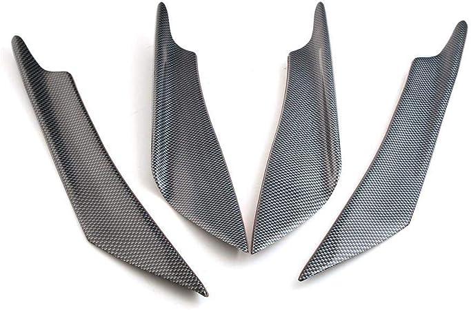 Poehxtyy 4pcs Carbon Fiber Auto Frontstoßstange Lip Spoiler Flossen Canards Trim Kit Universal Karosserie Front Stoßstange Splitter Flossen Auto