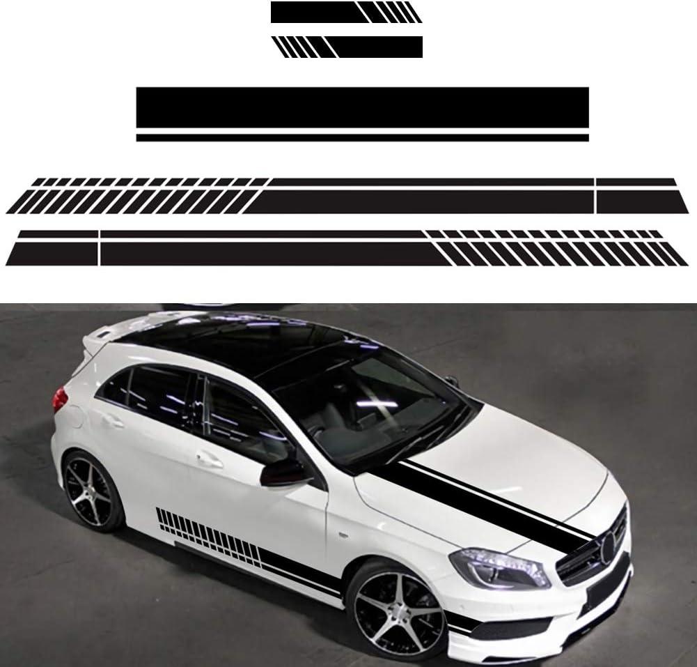Rennicoco 5 Stück Universal Schwarz Rennauto Seite Streifen Motorhauben Aufkleber Für Alle Autos Vinyl Bumper Decal Auto