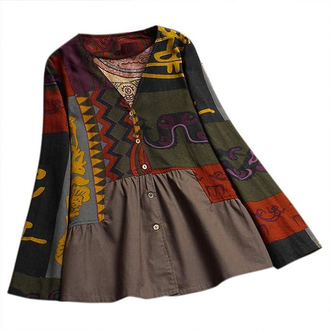 92387e37dc Camisa Mujer Otoño Talla Grande,Modaworld Camisa con Cuello De Pico  Estampado De Mujer Camisa