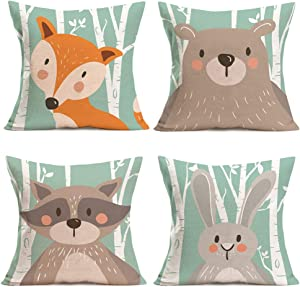 Asminifor Throw Pillow Covers Cute Animal Cartoon Fox Rabbit Bear Decorative Pillow Case Set of 4 Cotton Linen Cushion Cover for Home Car Decor 18 x 18 inches (Cartoon Animal)