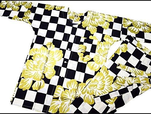 制裁ケーキ医学【市松に金彩大牡丹?黒】 義若オリジナルの鯉口シャツ単品 男女兼用