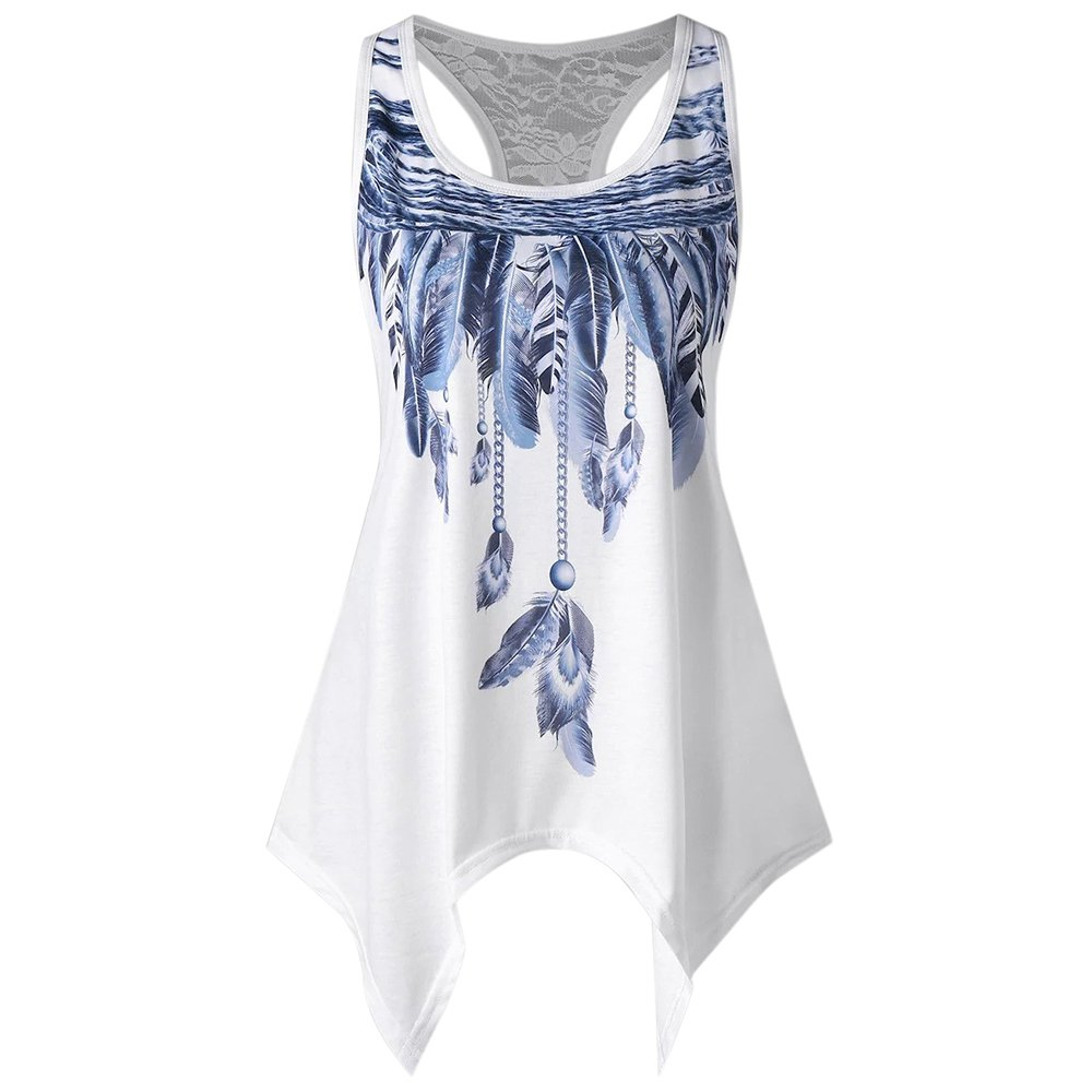 Shujin Damen Sommer Elegant Tank Tops mit Spitze Patchwork Oberteile Asymmetrische Feder Print Ärmellos Casual Cami Weste Bluse T-Shirt