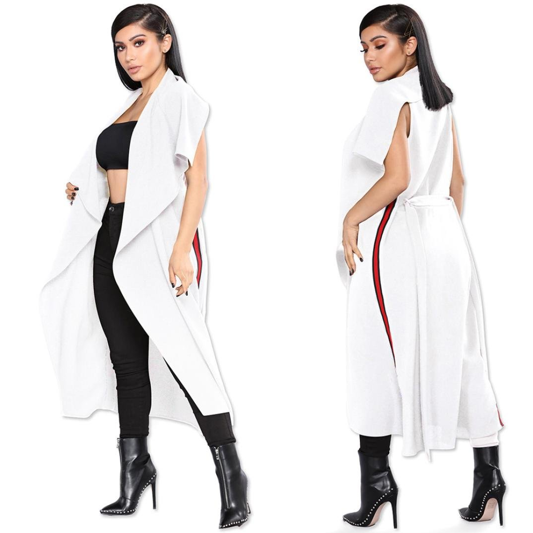 BCDshop Women Fashion Jacket Top Casual Open Front Cape Trench Duster Coat Sleeveless Formal Long Blazer (White, S)