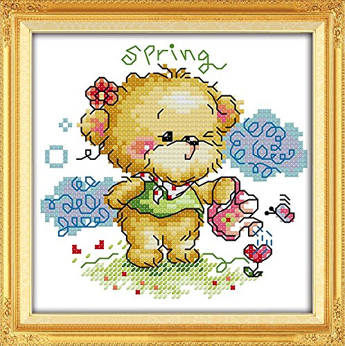 YEESAM ART New Cross Stitch Kits Advanced Patterns for Beginners Kids Adults - Four Seasons Little Bear-Spring 11 CT Stamped 20x20 cm - DIY Needlework Wedding Christmas Gifts by YEESAM ART