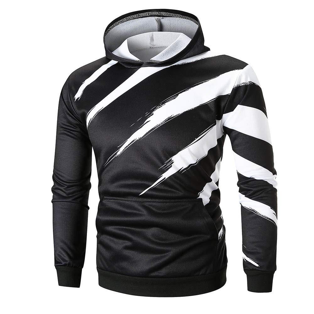 ShenPr Fashion Men's 3D Stripe Print Graphic Pockets Athletic Sweaters Pullovers Fashion Hoodies Sweatshirts