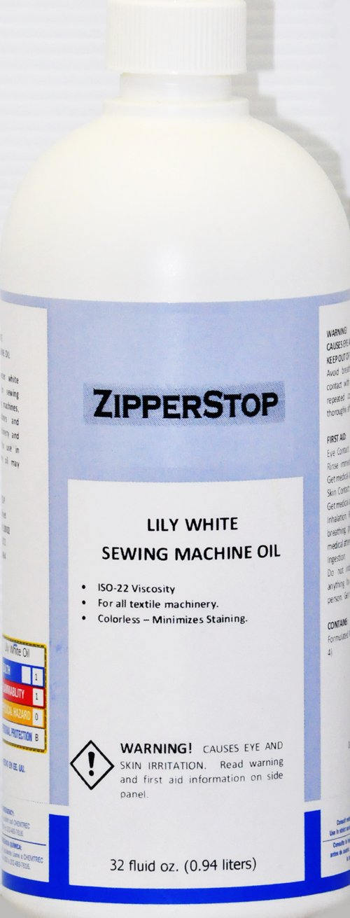 Sewing Machine Oil ~ Lily White ~ 32 Fluid OZ.(0.94 liters) Made in U.S.A. by Zipperstop