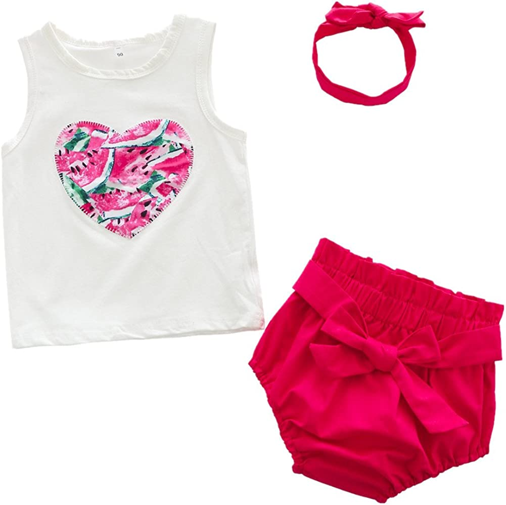 Beide Toddler Baby Girls Summer Outfits Sleeveless T-Shirt Headband Bowknot Short