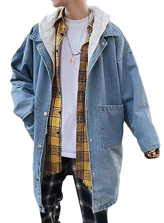 506ef7d97e87 Papijam Mens Loose Washed Pocket Hooded Button Long Denim Jacket Coat Light  Blue XL