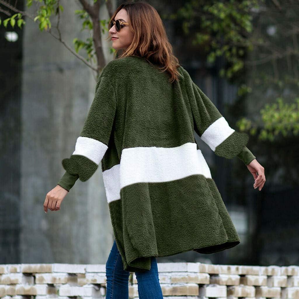 Women Long Sleeve Windbreaker Plush Patchwork Splicing Cardigan Casual Splicing Coats Jacket Sweater Blouse WEI MOLO