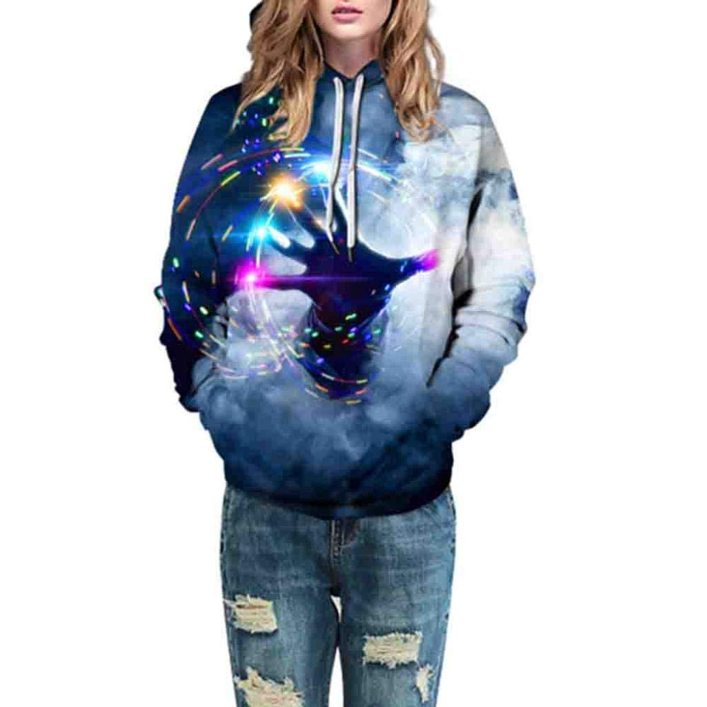 HTHJSCO Women Casual Shirts Blouse Tops, Autumn Winter 3D Printing Long Sleeve Caps Sweatshirt Top Blouse (Multicolor C, S/M)