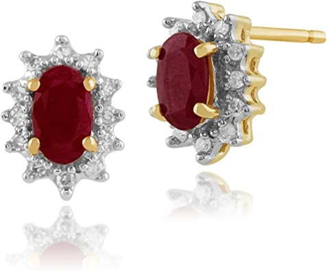 Diamond-Unique Ruby 2ct Solitaire 9ct Gold Stud Earrings