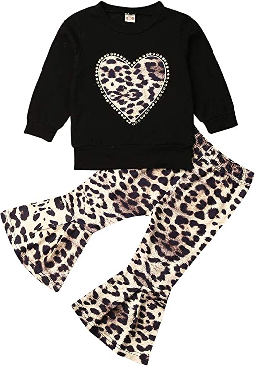 Toddler Baby Girls Leopard Clothes Ruffle Tops T-shirt Leggings Pants Outfits US