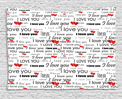 Romance Bedroom (Romantic Tapestry by Ambesonne, I Love You Quote with Hearts Romance Couple Valentine Plain Backdrop, Wall Hanging for Bedroom Living Room Dorm, 80 W X 60 L Inches, Vermilion Black White)
