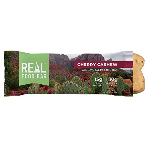 Real Food Bar Plant based Protein Bar, Cherry Cashew, 15g Protein, 2.18 Oz, 12 Bars