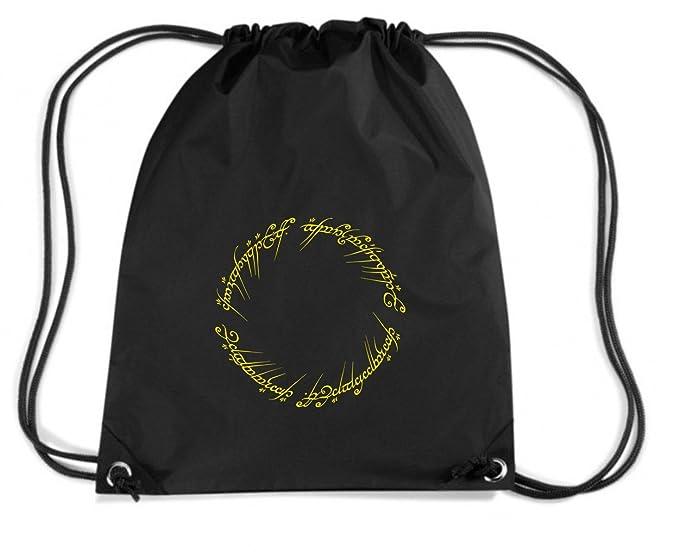 T-Shirtshock - Mochila Budget Gymsac T0678 LORD OF THE RING FRASE ELFICA ANELLO film inspired, Talla Capacidad 11 litros: Amazon.es: Ropa y accesorios