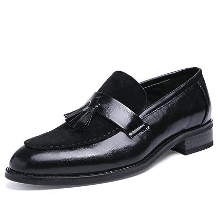 Hongjun-shoes, Mocasín para Hombre, Zapatos de Oxford Formales de Cuero Borla de