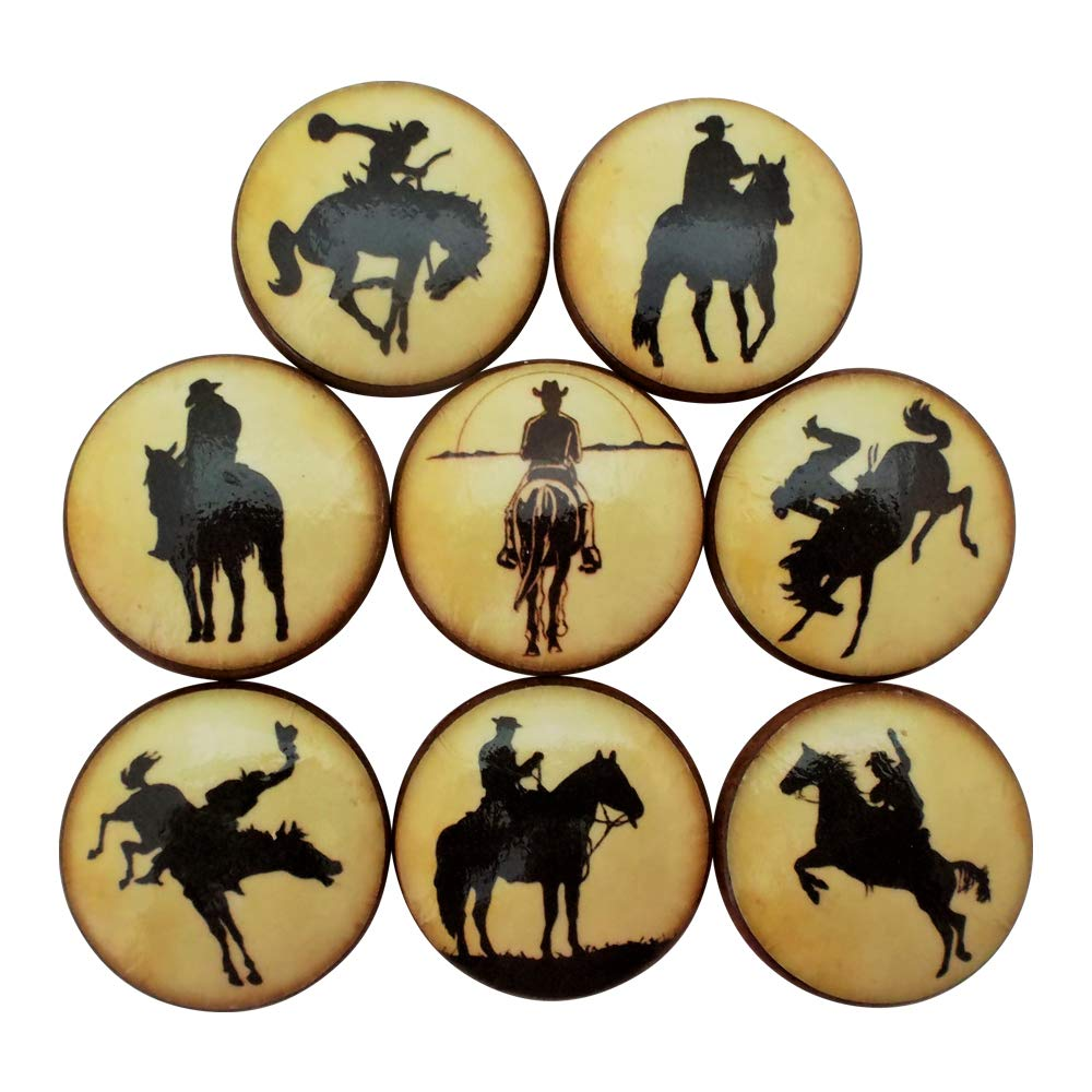 Set of 8 Cowboy Silhouette Cabinet Knobs