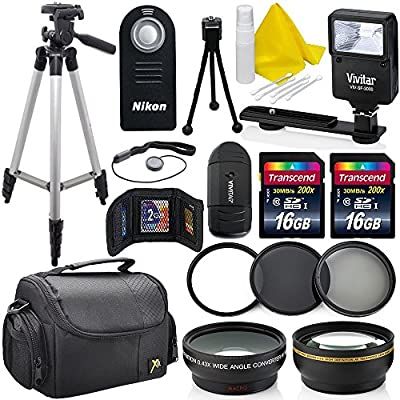 Professional 52MM Accessory Bundle Kit For Nikon D3300 D3200 D3100 D5000 D5100 D5200 D5300 D5500 D7000 D7100 D7200 & DSLR Cameras , 15 Nikon Accessories