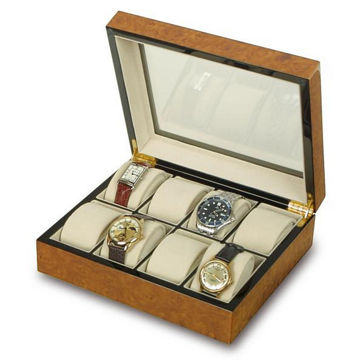 Rapport London The Venice Burr Walnut 8 Watch Box w/ Glass Top