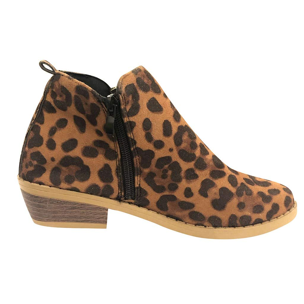 ZOMUSAR Women's Boots, Women Fashion Zipper Ankle Boots Leopard Casual Large Size Scrub Single Boots Brown by ZOMUSAR