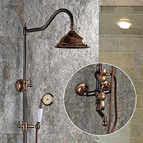 BIAN-European-style shower Kit black bronze shower set continental antique copper shower bathroom faucets can be raised and lowered shower sets stylish home bathroom set