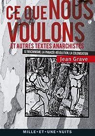 Ce que nous voulons et autres textes anarchistes par Jean Grave