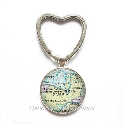 Amazon.com: Encantador corazón llavero, Zambia Mapa corazón ...