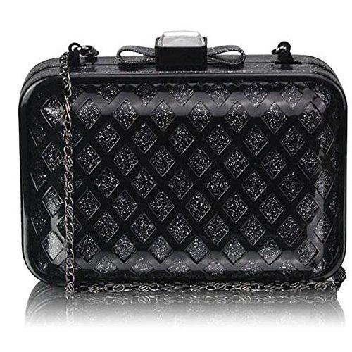 TrendStar - Cartera de mano mujer Black Luxury Clutch Handbag